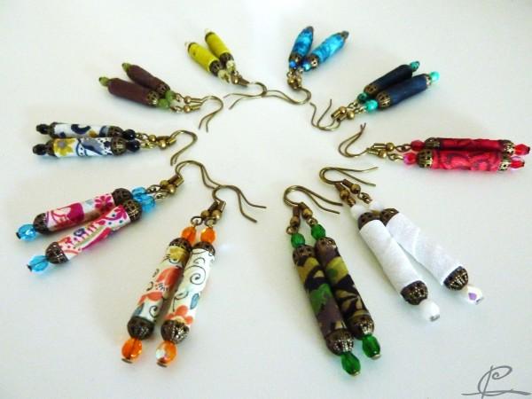 Les Boucles d'oreilles en tubes de textiles et en pagaille! dans Mars 2012 P1090400-e1333138614563